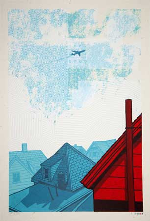 "Somerville Rooftops (36/55),   silkscreen on paper, 24½"" x 16"", end of run   $450 framed"