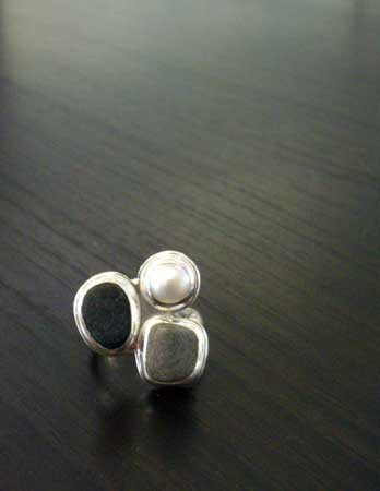 Double beach stone ring,   beach stone, freshwater pearl, sterling silver