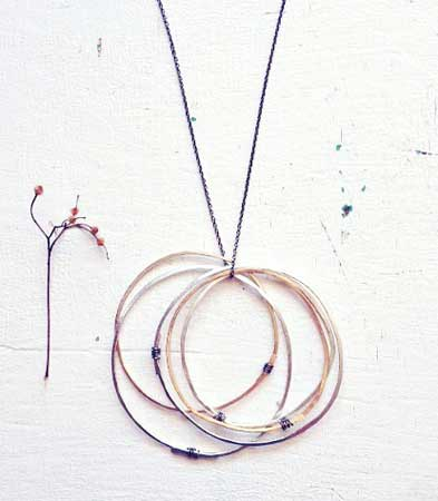 Floating Circles Necklace,   sterling silver, gold fill