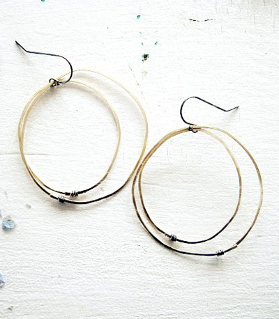 Gold Orbit Earrings,   hammered gold fill, sterling silver ear wires