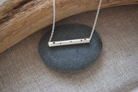 Log necklace with holes,   sterling silver,   $70