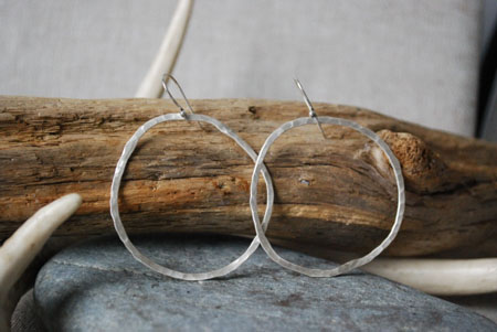 Hammered Circle Hoop Earrings,   fine silver,   $65
