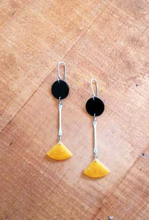 Tribe Earrings,   sterling silver, vintage bakelite