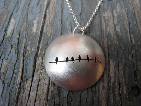 6 Birds on a Wire necklace,  reversible sterling silver dome