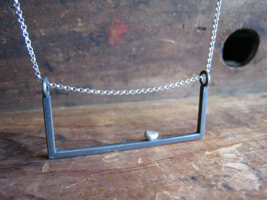 Perch necklace,   sterling silver and fine silver frame