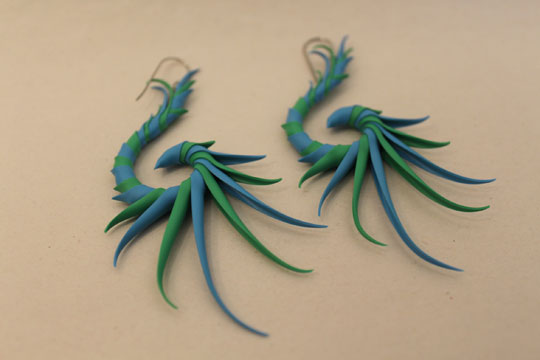 large back swoop earrings,   green and blue rubber, aluminum armatures, surgical steel earwires ,  $62