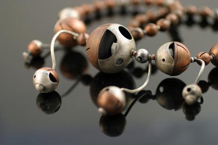 Orbit Necklace,  oxidized silver, brass, copper