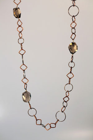 Smoky quartz necklace,   smoky quartz, sterling silver, copper