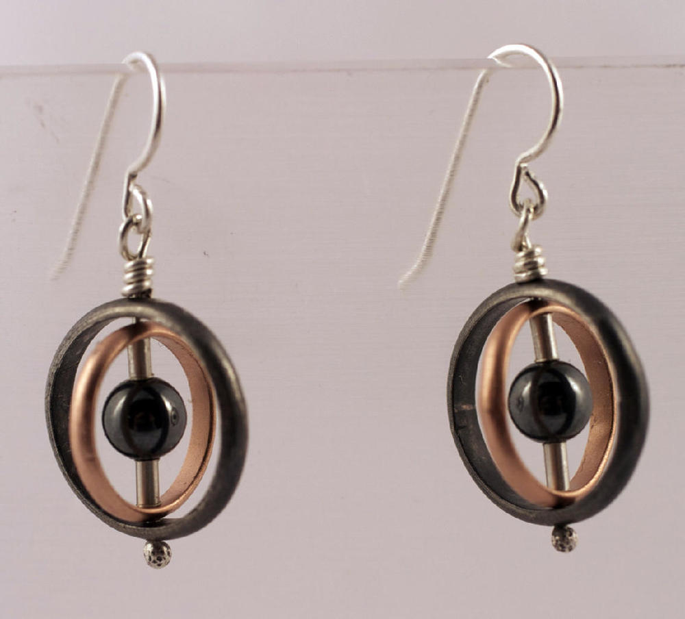 Orbit hematite earrings