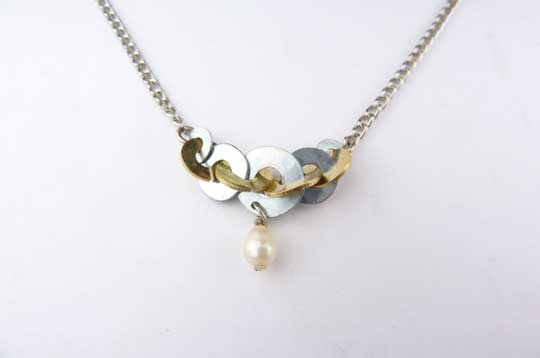 Petite Two Tone Necklace with Pearl,   Brass, zinc, freshwater pearl, sterling silver