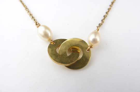 Clasp Necklace with Pearl,   Brass, freshwater pearl, gold plated chain,   $27