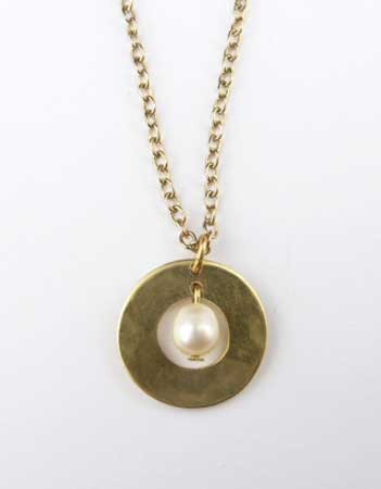 Pearl Pendant in Washer,   brass, freshwater pearl, gold plate chain,   $20