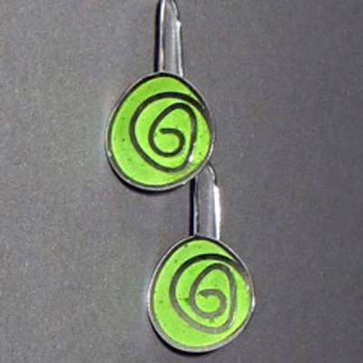 Large Swirl Resin Earrings,   sterling silver, resin - comes in various colors,   $80