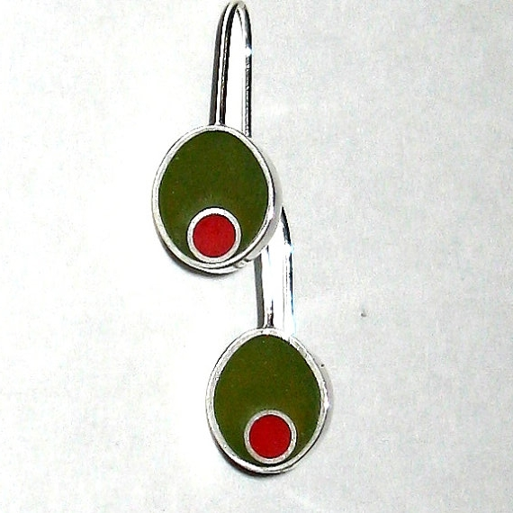 Olive Earrings,   sterling silver, resin - comes in various colors   $50