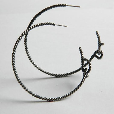 Forget-me-knot rope hoops  , sterling silver, $85