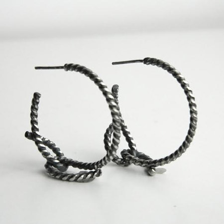 Small forget-me-knot rope earrings  , sterling silver, $75