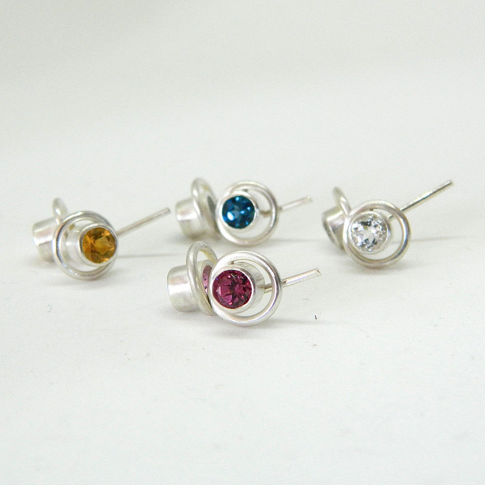 infinite wave studs,  Brushed silver studs with 4mm gemstone