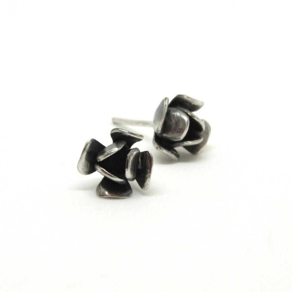 rosebud studs,  sterling silver