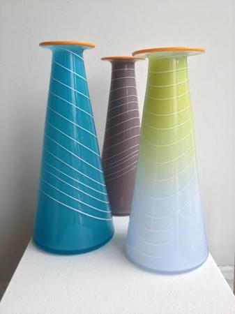 "Glass Vases , hand blown glass, 10½"" x 4"" each, $165 each"