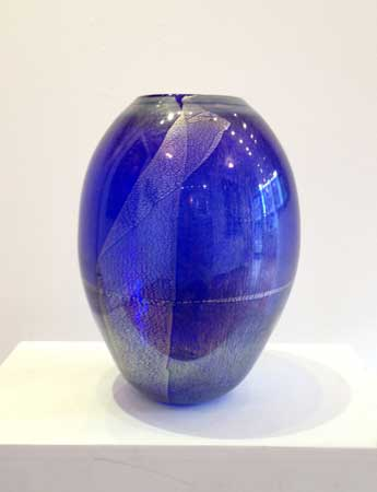 "Cobalt and Silver Vase,   italian silver leaf, handblown glass, 9"" x 6½"",   $175"