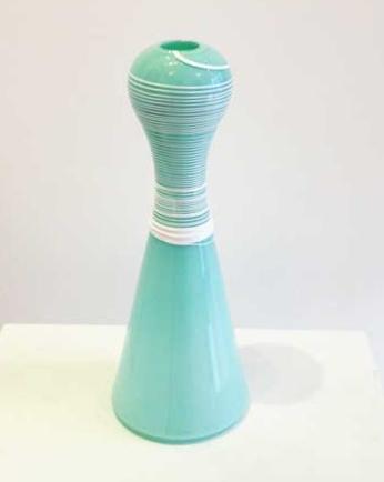 "Celadon Vase with White Cane Wrap,  handblown glass, 11½"" x 4½"",  $145"