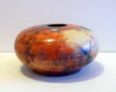 "Vessel,   saggar fired ceramic, 2½"" x 5"""