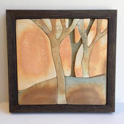 "Framed Trees,  saggar ceramic tile, wood frame, 9½"" x 10¼"", $360"