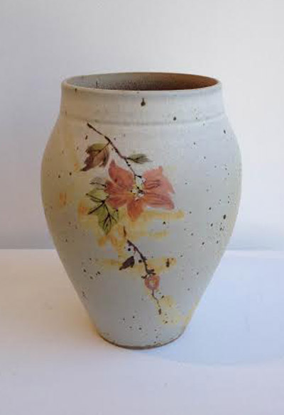"Rhodes White with Flower Vase,  high fire ceramic, 7"" x 4"""