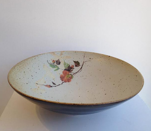 "Rhodes White with Tenmoku and Flower Bowl,   high fire ceramic, 3½"" x 11¾"""