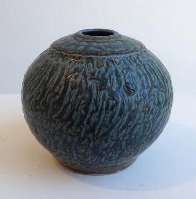 "Vase,  fake ash ceramic, 3¾"" x 3¼"",  $75"