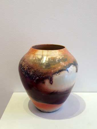 "Vessel,   saggar fired ceramic, 7½"" x 6"",   $365"