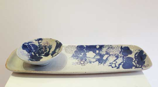 "Milk white and cobalt stoneware serving set, ceramic with transfers, tray, 15"" x 5¼"", bowl, 5¾"" x 1¾"", $165 for set"