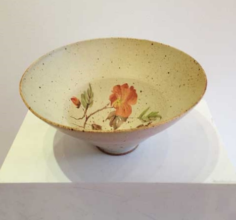 "Bowl,  stoneware, rhodes glaze ceramic transfer, 5"" x 10"""
