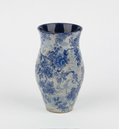 Aegean Blue with blue transfer vase,   ceramic, 7½""