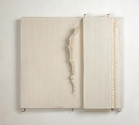 "L-R-L-R , wood, pigmented polymer medium, cotton thread, toothpicks ceramic screws, china marker, wood filler, 9""¾ x 10"" x 1½"""