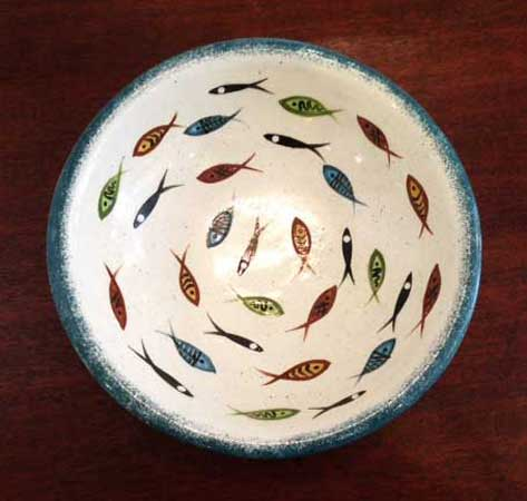 "Multifish Fruit Bowl,   ceramic, 3¾"" x 10½"" x 10½"", $125"