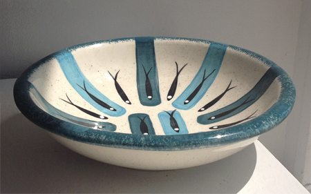 "Fruit bowl in traditional blue,   ceramic, 3"" x 10"", $125"