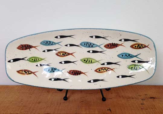 "Bread Tray,   ceramic, 1"" x 13"" x 5½"", shown in multifish pattern, also available in other patterns,   $95"