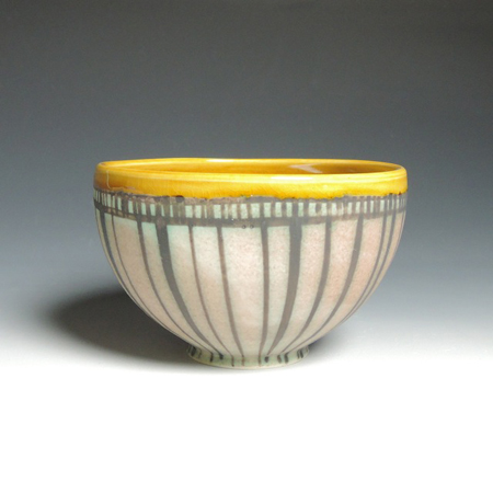 "Rose and Amber Small Bowl,   porcelain,   3"" x 6"", $38"