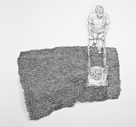"How to Enjoy Lawn Care,   painted steel wire, 37½"" x 33½"" x 2½"",   sold"