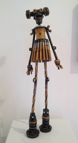 "Grace,   Mercury Class Astrobot, antique bicycle parts, 18 taps, drill bits, gold racing stripes, 22"" x 7"" x 4"",   sold"