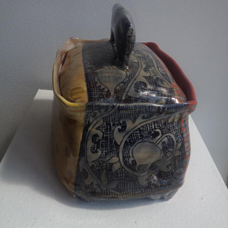 "ceramic biscotti box  , 6"" x 8"" x 5½"",   $250"