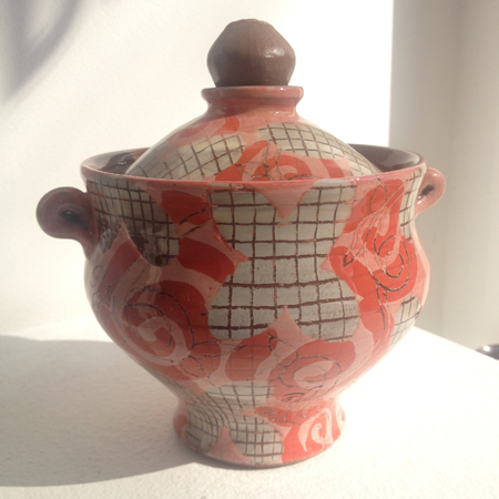 "ceramic jar with handles and lid  , 6"" x 4½"",   $120"