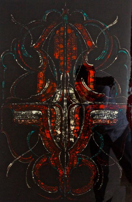 """Stained Glass,  enamel on wood, epoxy coating, 36"""" x 24"""""""