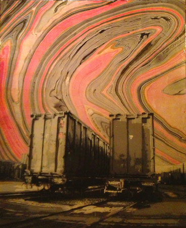 "Boston Train Yard Marble,   spraypaint, copper leaf with six-layer handcut stencil on panel, 34"" x 28"",   $4,500"