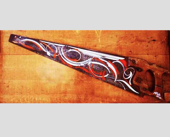 "Good Luck,  enamel on antique saw, 6½"" x 29½"" x 1"""