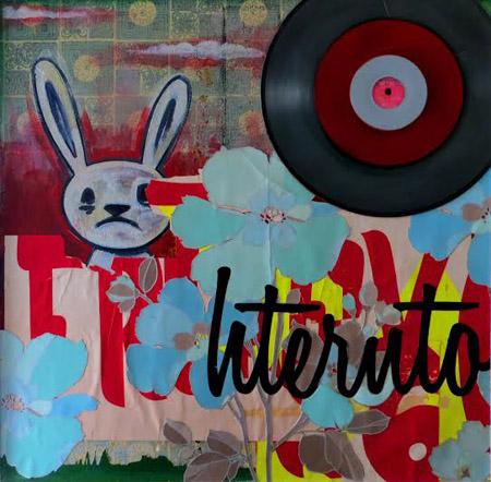 """Undercover Bunny , Joe Barillaro, oil, wallpaper, vinyl lettering, vinyl records, spray paint on canvas, 25"""" x 25"""" framed, $700"""