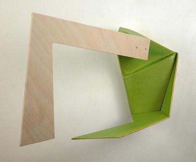 """Shift 16 , Ruth Daniels, wood, pigmented talc medium, nails, 8½"""" x 13½"""" x 9"""", $900"""