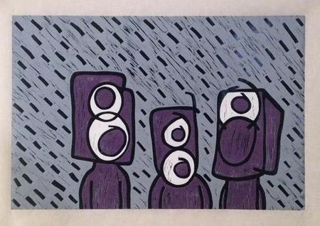 """Purple Speaker People , Rocky Delforge, linocut on kozo, 18"""" x 24"""", $550"""