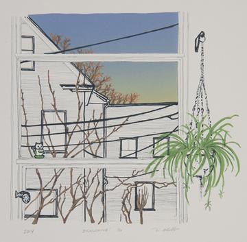 "Branching , Rachel Mello, lithograph on cotton rag, 16"" x 16"", $175"